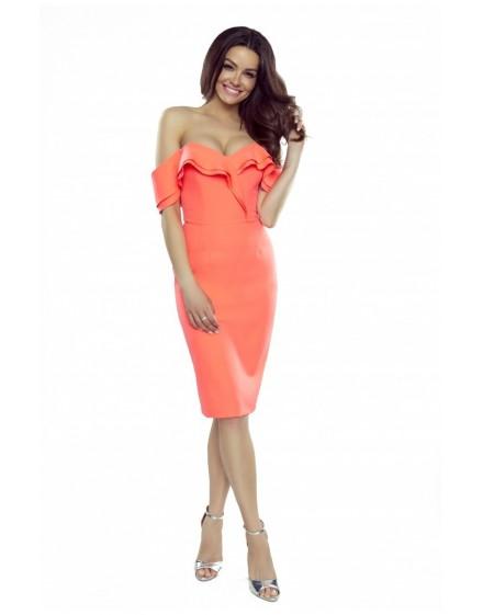 110-06 Cloe sensual dress with a sensual neckline and falling shoulders (orange)