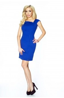 14-02 - RUSLANA - dress with asymmetric flap in the neckline in the shape of a diamond (blue)