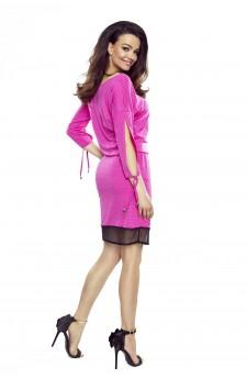 82-06 VARIA uniwersalna i wygodna sukienka (różowa w czarne kropki)