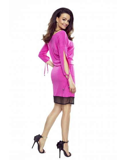 82-06 VARIA universal and comfortable dress (pink with black dots)