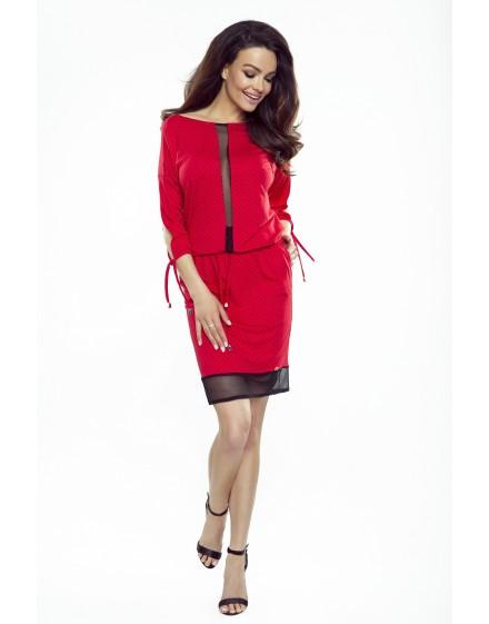 82-08 VARIA uniwersalna i wygodna sukienka (czerwona w czarne kropki)