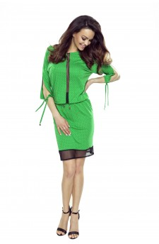 82-07 VARIA universal and comfortable dress (green with black dots)