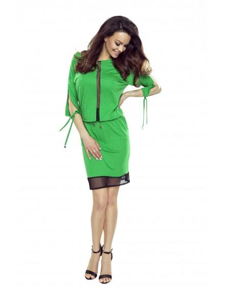 82-07 VARIA uniwersalna i wygodna sukienka (zielona w czarne kropki)