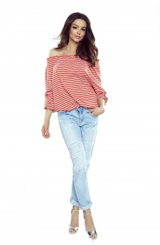 19-11 CROSSY - Spanish blouse (red stripes)