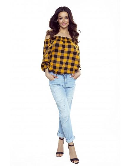 19-08 CROSSY - Spanish blouse (black and orange checked)