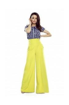 91-19 Eleganckie spodnie z wysokim stanem (żółte)