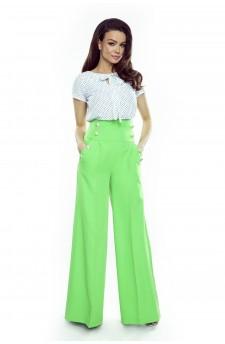 91-18 Eleganckie spodnie z wysokim stanem (zielone)