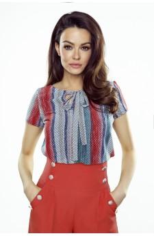 64-10 ILONA - wygodna i elegancka bluzka (czerwono niebieska)