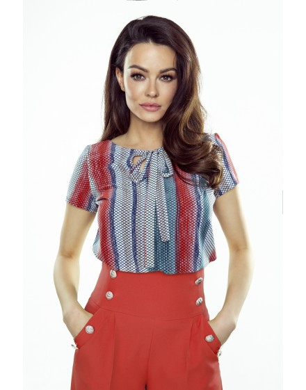 64-10 ILONA - comfortable and elegant blouse (red-blue)