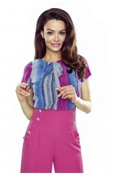 64-14 ILONA - wygodna i elegancka bluzka (niebiesko różowa)