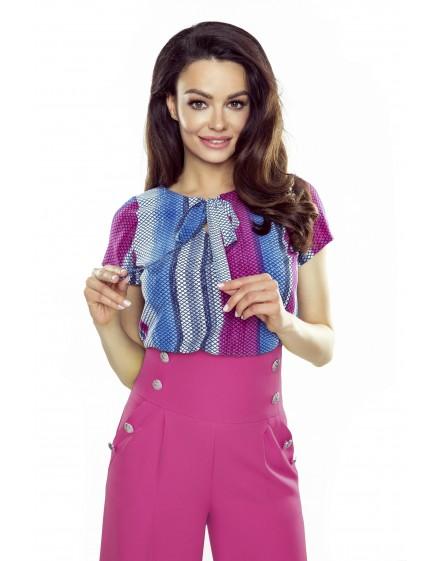64-14 ILONA - comfortable and elegant blouse (blue-pink)