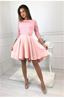 48-06 CATERINA – dress with a longer back and lace top (pastel pink)
