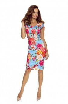 Ołówkowa sukienka w kwiatowy wzór z dekoltem wykrojonym w serek