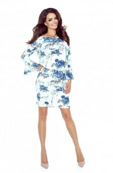 Sukienka w kwiatowy wzór z rozkloszowanymi mankietami i troczkami w pasie