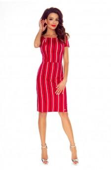 87-11 Paula wygodna sukienka dzienna (czerwona w biało granatowe paski )