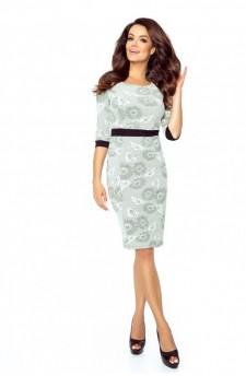 25-14 - DANUSIA - elegant dress with stripe (SUNFLOWER)