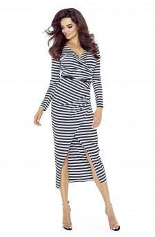 75-07 MARITA sukienka z asymetrycznym drapowaniem (PASKI SZARO CZARNE BŁYSK)