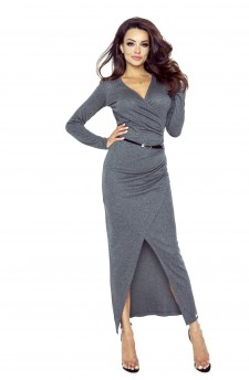 75-05 MARITA dress with an asymmetric draping (DARK GRAY)