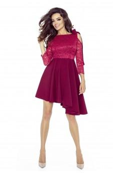 Lace dress with an asymmetrical bottom
