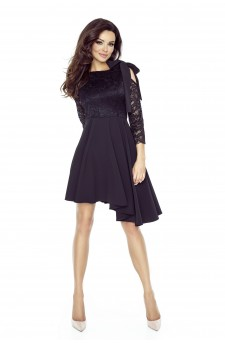 78-03 NEVA asymmetric dress with a lace-based top (BLACK)
