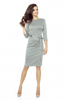77-03 PPEPPI elegant dress with a matching belt (DARK GRAY)