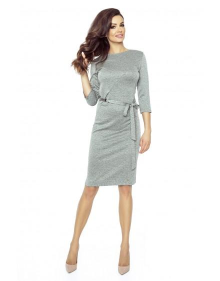 77-03 PPEPPI elegant dress with a matching belt (DARK GRAY)