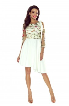78-08 NEVA asymetryczna sukienka z koronkową górą (ecru)