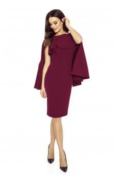 94-03 ESME sukienka z baskinką i peleryną (bordowy)
