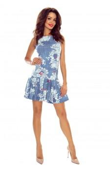109-01 Suzana-dziewczęca sukienka z plisowanym dołem (jeans motylek)