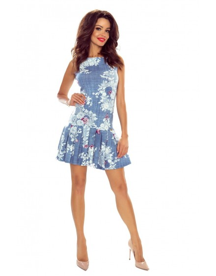 109-01 Suzanna dress- girly dress with pleated bottom (jeans butterfly)