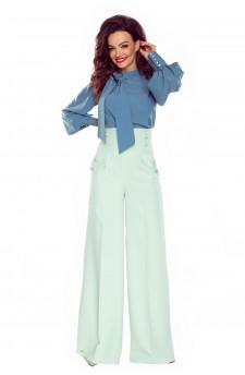 91-09 Eleganckie spodnie z wysokim stanem(mięta)