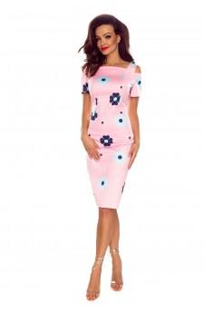 85-07 Roxi wygodna sukienka dzienna (RÓŻ W GRANATOWE KWIATY)