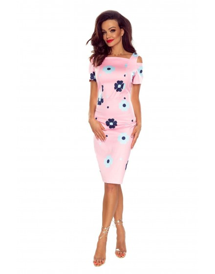 85-07 Roxi comfy everyday dress (PINK IN NAVY FLOWERS)