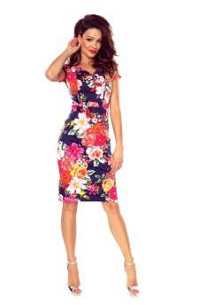 107-03 Alice dress to office ( flowers on navy)
