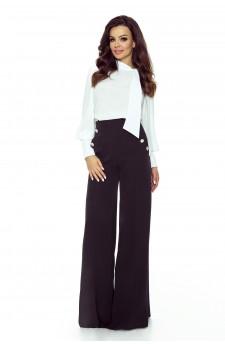 91-05 Eleganckie spodnie z wysokim stanem (czarny)