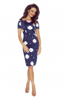 85-08 Roxi comfy everyday dress (NAVY IN PINK AND LIGHT BLUE FLOWERS)