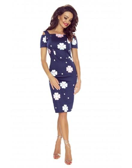 85-08 Roxi wygodna sukienka dzienna (GRANAT W RÓŻOWO BŁĘKITNE KWIATY)