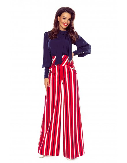 91-17 Elegant trousers with high status (red in white and navy stripes)