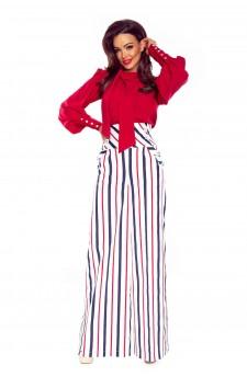 91-15 Eleganckie spodnie z wysokim stanem(białe w granatowo czerwone pasy)