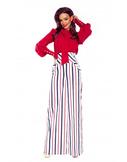 91-15 Elegant trousers with high status (white in navy and red stripes)