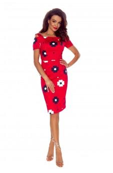 85-05 Roxi wygodna sukienka dzienna (CZERWONA W BAIŁE KWIATY)