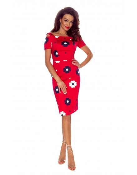 85-05 Roxi comfy everyday dress (RED IN WHITE FLOWERS)