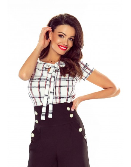 64-06 ILONA - comfortable and elegant blouse (navy and red checked)