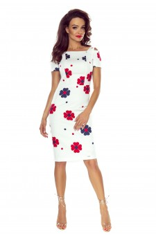 85-06 Roxi comfy everyday dress (WHITE IN RED FLOWERS)