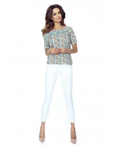 65-01 AMELIA – blouse with two valances (flowers mint)