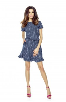 Melange white polka-dot dress with a slightly flared bottom finished with a frill