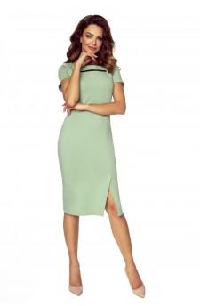86-05 Trini elegancka sukienka z siateczkową wstawką (mięta)