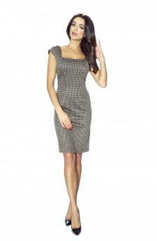 31-01 - OLENA - simple dress with neckline-diamond (checked brown)