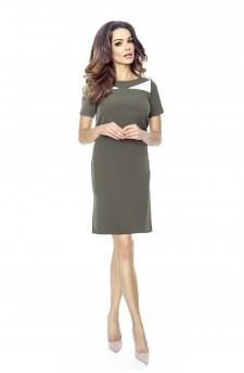 44-05 NADIA - klasyczna prosta sukienka z rozporkami na bokach (khaki)