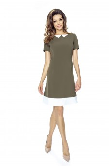 45-04 ROSALIA – dress with a collar imitation (khaki)